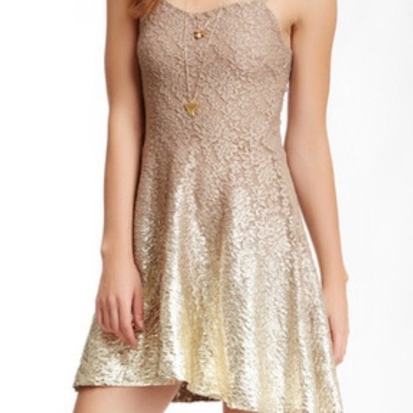 Free People Dresses & Skirts - Free People Beige and Gold Ombré Dress Size M